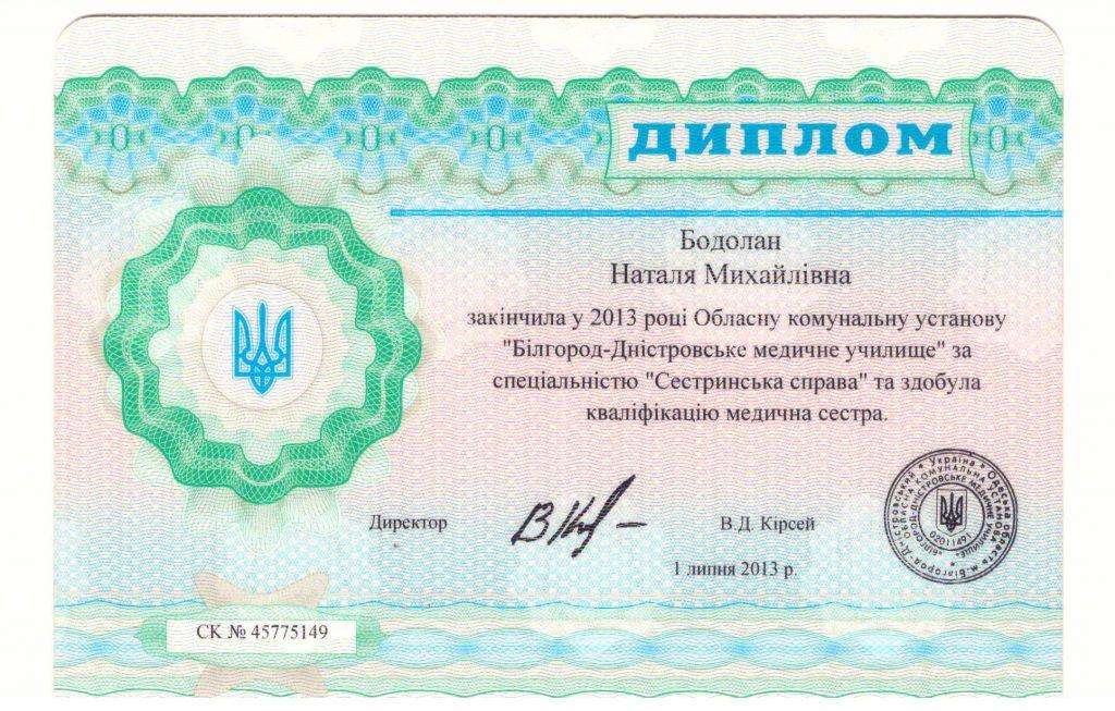 Сертификат Бодолан Наталья 2