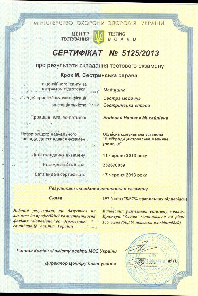 Сертификат Бодолан Наталья 3