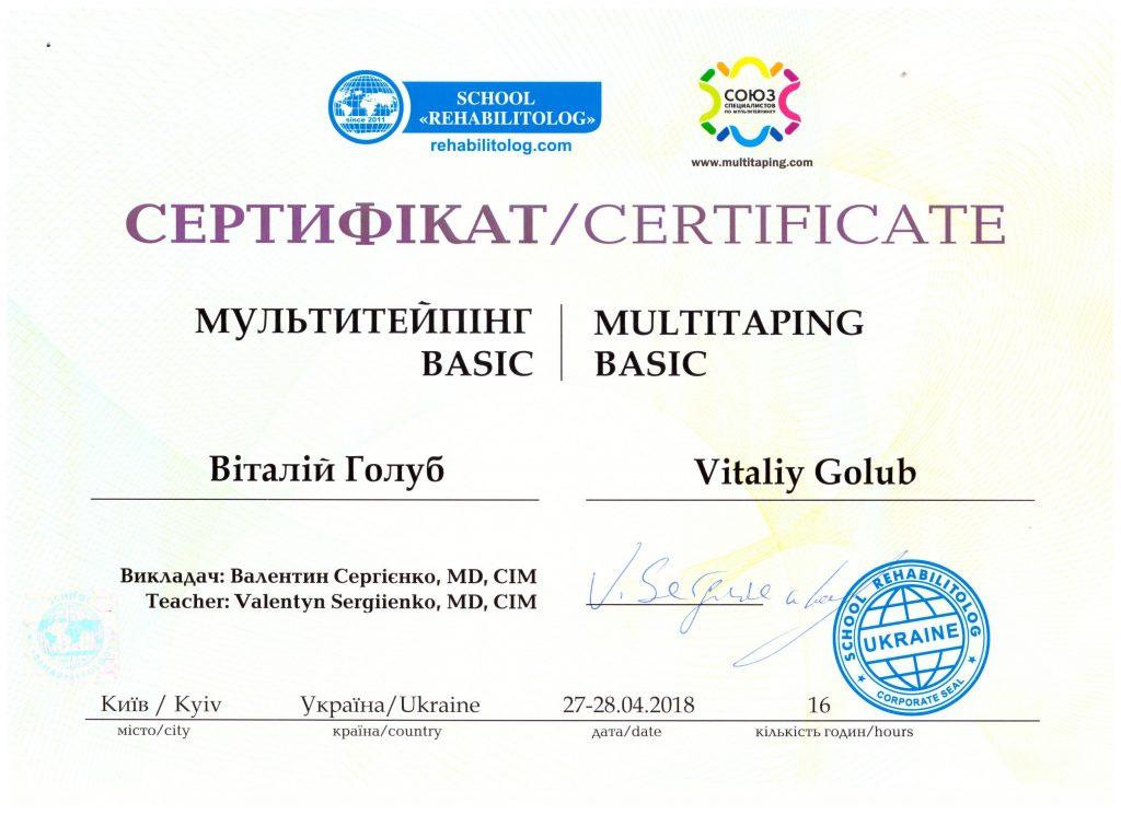 Сертификат Голуб Виталий 5