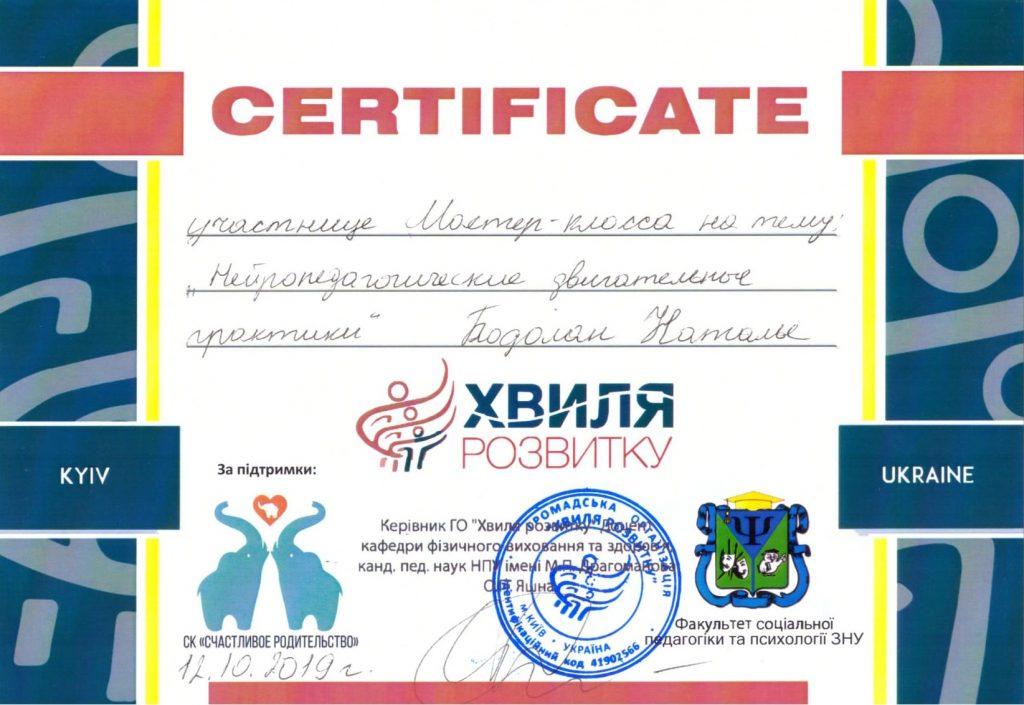 Сертификат Бодолан 7